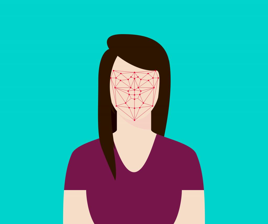 persona bajo reconocimiento biométrico